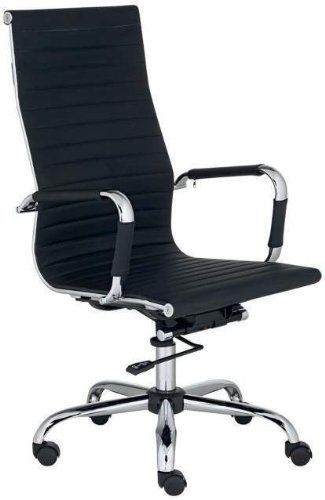 Modern High Back Black Ribbed Upholstered Leather Executive Office Desk Chair