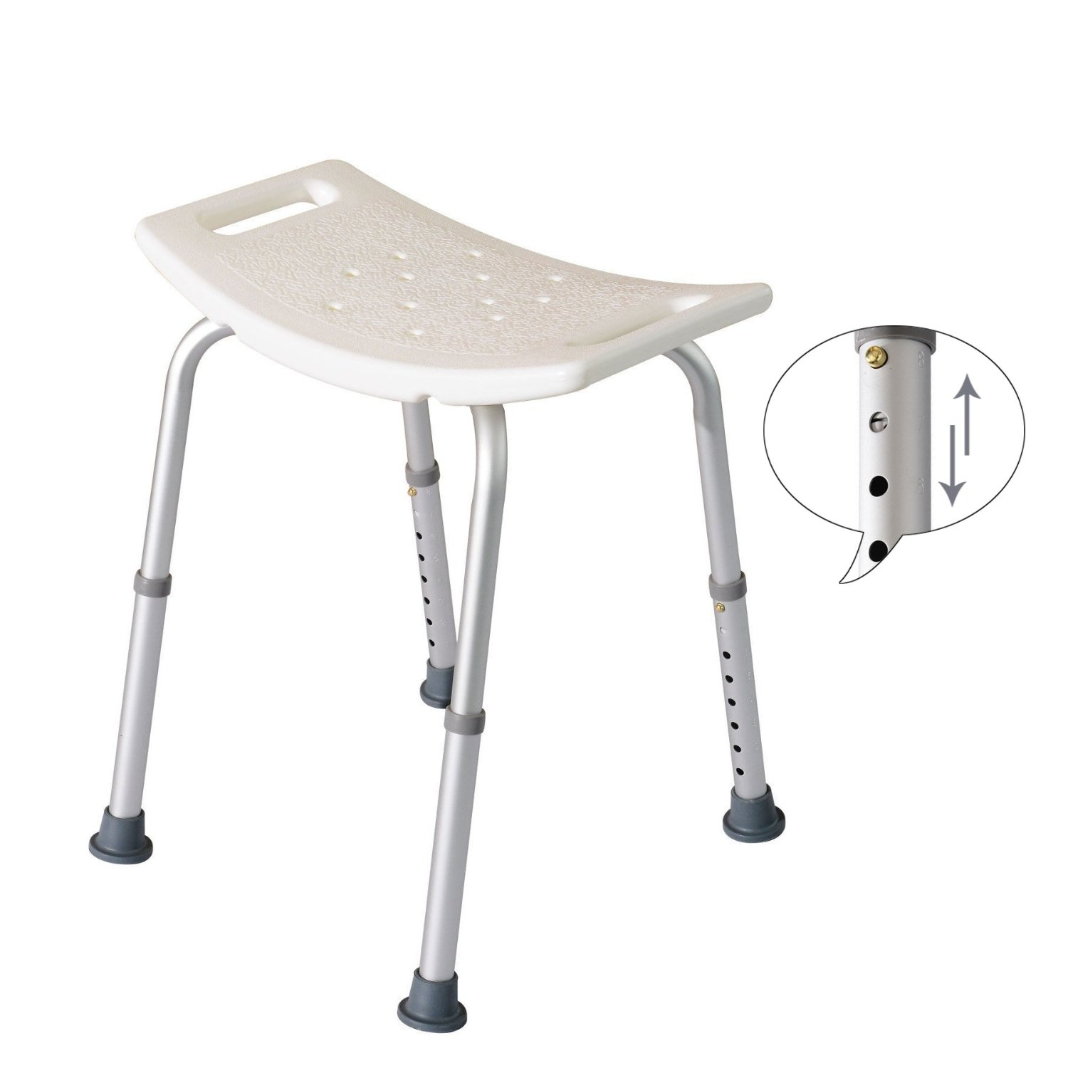 Ergonomic Round Adjustable Medical Shower Stool Bath Chair Bathtub Seat Bench Square