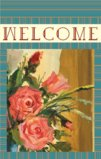 welcome Flag With Retro Style Rose Flowers Garden Flag Decorative Flag - 12.5