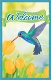 Welcome Flag With Humming Bird And Yellow Tulips Garden Flag Decorative Flag - 12.5