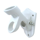 Wall Mount Flag Pole Bracket Cast Iron White Two Angles 90 and 45