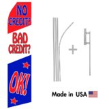 No Credit/Bad Credit OK! Econo Flag | 16ft Aluminum Advertising Swooper Flag Kit with Hardware