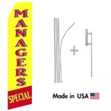 Manager Specials Econo Flag | 16ft Aluminum Advertising Swooper Flag Kit with Hardware