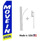 Move In Special Econo Flag | 16ft Aluminum Advertising Swooper Flag Kit with Hardware