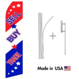 Sell, Buy, Trade Econo Flag | 16ft Aluminum Advertising Swooper Flag Kit with Hardware