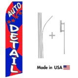Auto Detailing Service Econo Flag | 16ft Aluminum Advertising Swooper Flag Kit with Hardware