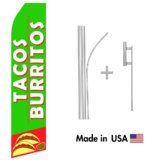 Tacos and Burritos Econo Flag | 16ft Aluminum Advertising Swooper Flag Kit with Hardware