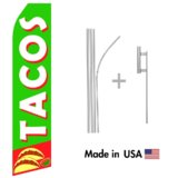 Tacos Econo Flag | 16ft Aluminum Advertising Swooper Flag Kit with Hardware