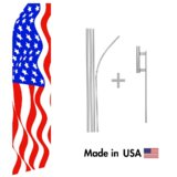 American Flag Econo Flag | 16ft Aluminum Advertising Swooper Flag Kit with Hardware