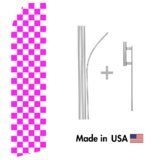 Magenta and White Checkered Econo Flag | 16ft Aluminum Advertising Swooper Flag Kit with Hardware