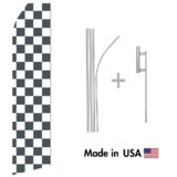 Black and White Checkered Econo Flag | 16ft Aluminum Advertising Swooper Flag Kit with Hardware