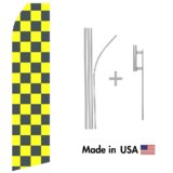 Black and Yellow Checkered Econo Flag | 16ft Aluminum Advertising Swooper Flag Kit with Hardware
