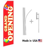 Grand Opening Econo Flag | 16ft Aluminum Advertising Swooper Flag Kit with Hardware