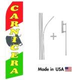 Carnicera Econo Flag | 16ft Aluminum Advertising Swooper Flag Kit with Hardware