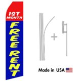 First Month Free Rent Econo Flag | 16ft Aluminum Advertising Swooper Flag Kit with Hardware