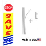 Stop Save Now Econo Flag | 16ft Aluminum Advertising Swooper Flag Kit with Hardware