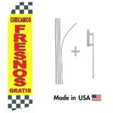 Checamos Fresnos Gratis Econo Flag | 16ft Aluminum Advertising Swooper Flag Kit with Hardware