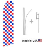 Red, Blue, and White Checkered Econo Flag | 16ft Aluminum Advertising Swooper Flag Kit with Hardware