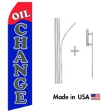 Oil Change Econo Flag | 16ft Aluminum Advertising Swooper Flag Kit with Hardware