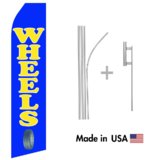 Wheels Service Econo Flag | 16ft Aluminum Advertising Swooper Flag Kit with Hardware