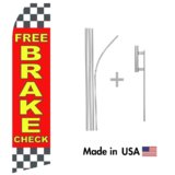 Free Brake Check Econo Flag | 16ft Aluminum Advertising Swooper Flag Kit with Hardware
