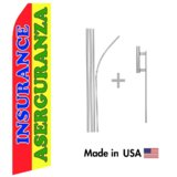 Insurance Aseguranza Econo Flag | 16ft Aluminum Advertising Swooper Flag Kit with Hardware
