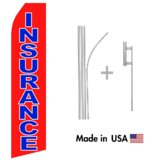 Red Insurance Econo Flag | 16ft Aluminum Advertising Swooper Flag Kit with Hardware