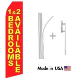 Red 1 & 2 Bedrooms Available Econo Flag | 16ft Aluminum Advertising Swooper Flag Kit with Hardware