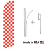 Orange Checkered Econo Flag | 16ft Aluminum Advertising Swooper Flag Kit with Hardware