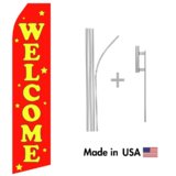 Red Welcome Econo Flag | 16ft Aluminum Advertising Swooper Flag Kit with Hardware