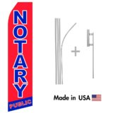 Notary Public Econo Flag | 16ft Aluminum Advertising Swooper Flag Kit with Hardware