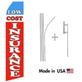 Low Cost Insurance Econo Flag | 16ft Aluminum Advertising Swooper Flag Kit with Hardware
