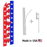 Red White and Blue Car Wash Econo Flag | 16ft Aluminum Advertising Swooper Flag Kit with Hardware