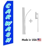 Blue Car Wash Econo Flag | 16ft Aluminum Advertising Swooper Flag Kit with Hardware