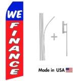 We Finance Econo Flag | 16ft Aluminum Advertising Swooper Flag Kit with Hardware