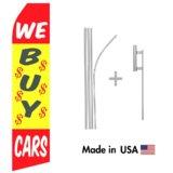 We Buy Cars Econo Flag | 16ft Aluminum Advertising Swooper Flag Kit with Hardware