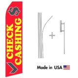 Check Cashing Econo Flag | 16ft Aluminum Advertising Swooper Flag Kit with Hardware
