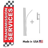 Transmission Services Econo Flag | 16ft Aluminum Advertising Swooper Flag Kit with Hardware